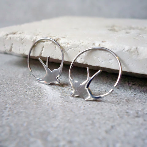 Sterling Silver Swallow Hoops Earrings