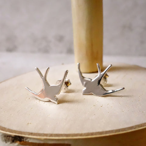 Sterling silver Swallow Studs