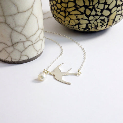 Silver Pearl Swallow Necklace