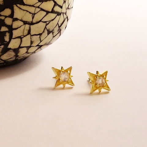 Moonstone Star Stud Earrings
