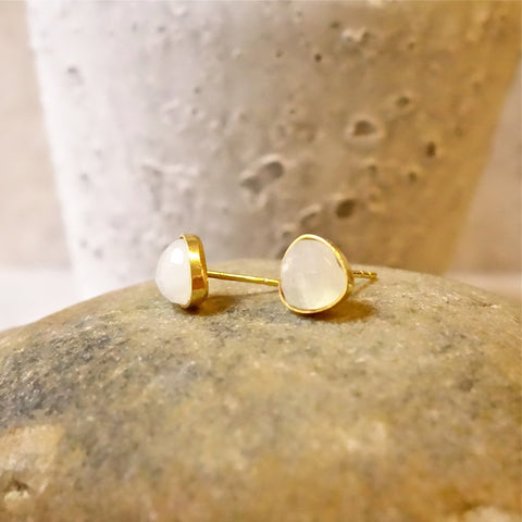 Natural Moonstone Rainbow Stud Earrings