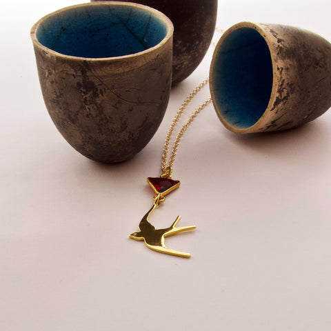 Garnet Birthstone Swallow Necklace