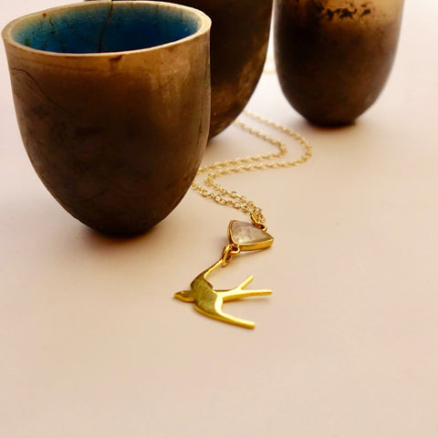 Moonstone Gold Swallow Necklace