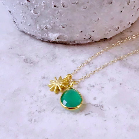 Personalised Gold Starburst Charm Birthstone Necklace