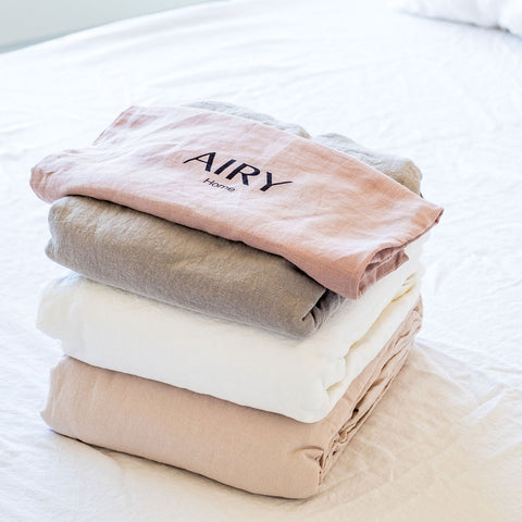 Airy Nest Bed Sheets In Blush, White, Grey and Linen cotton