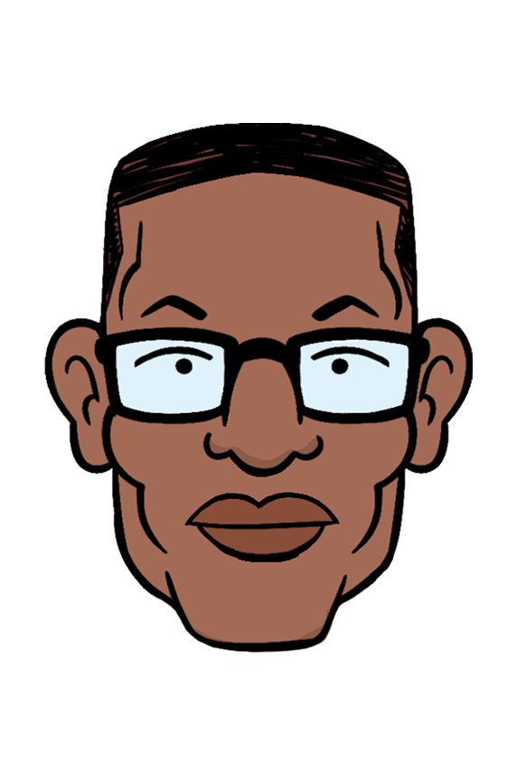 a headshot of the animated character Noah Switzer, voiced by actor Phil LaMarr