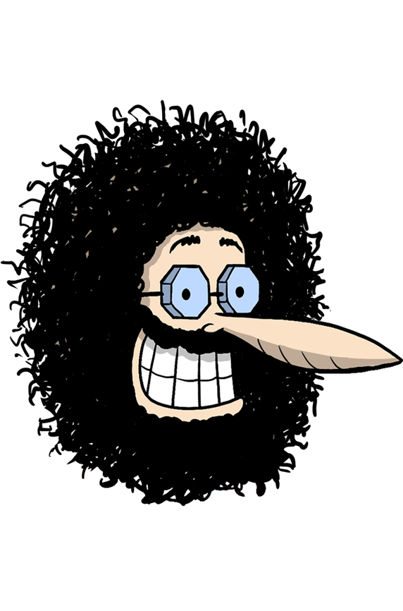 a headshot of the animated character Phineas T. Phreakears, voiced by actor and comedian Pete Davidson