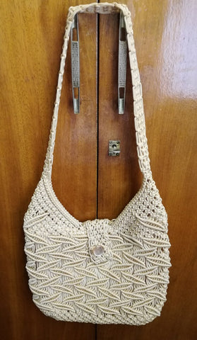 MEDIUM CREAM CROCHET SHOULDER BAG