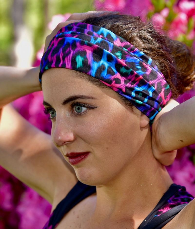 Festival Face Mask and Headband Trippy Leopard Eco