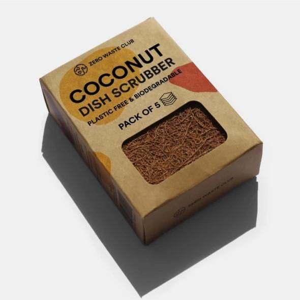 Zero Waste Club Coconut Kitchen Scourers - Pack of 5