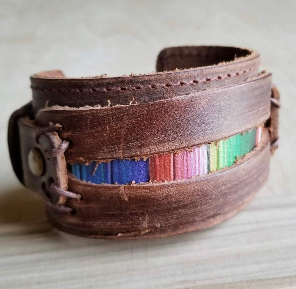 Dusty leather wide cuff with serape insert
