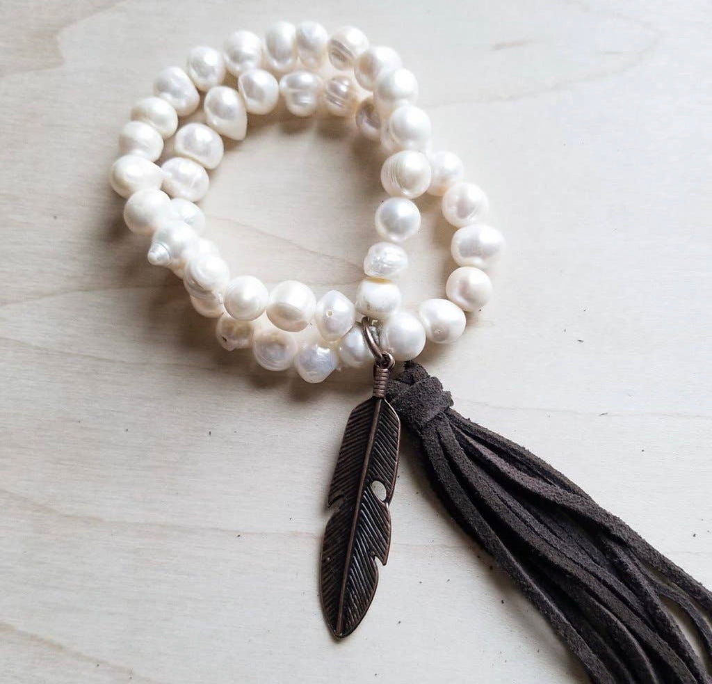 Double strand pearl with copper feather bracelet