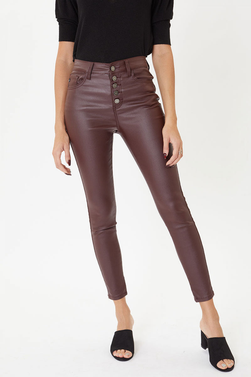 kancan Burgundy Leather Dress Pants