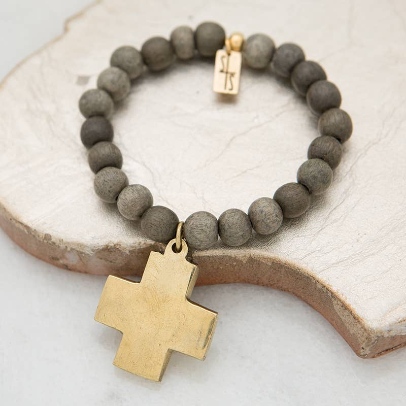 Cross bracelet gray