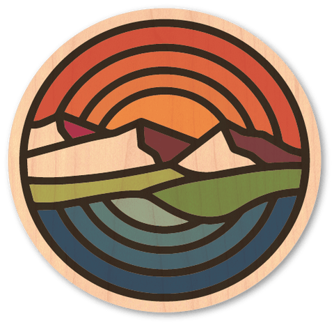Mountain Sunset - Wood Stickers Japan