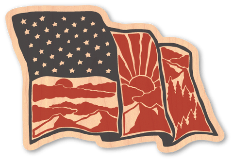 American Flag Intricate - Wood Stickers Japan