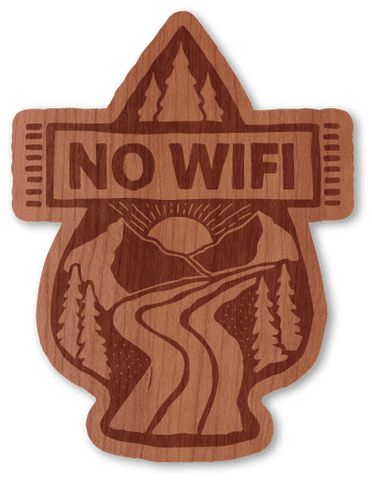 No Wifi - Wood Stickers Japan