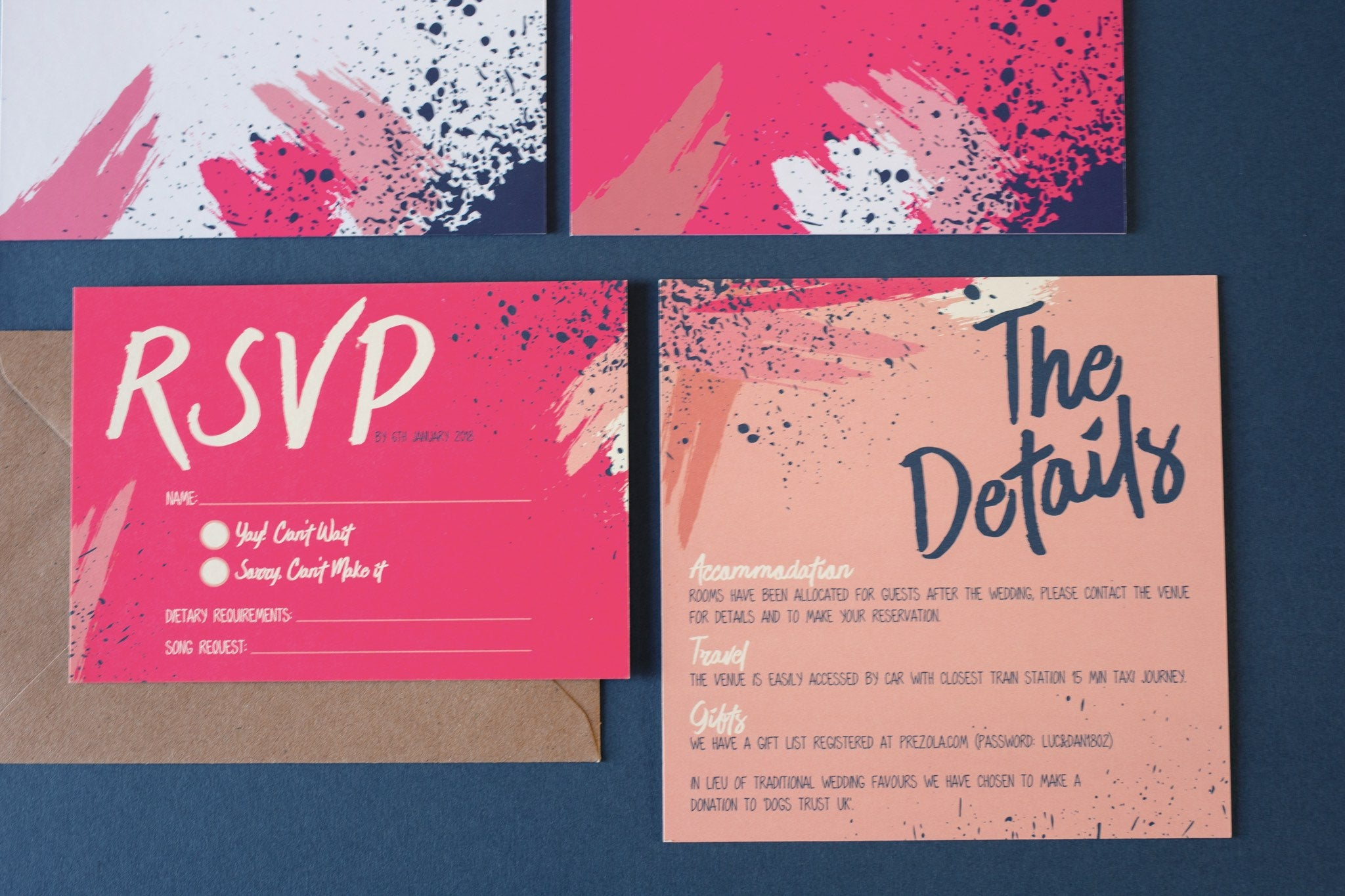 RSVP and details card, wedding stationery in pinks and peaches with Kraft brown envelope.