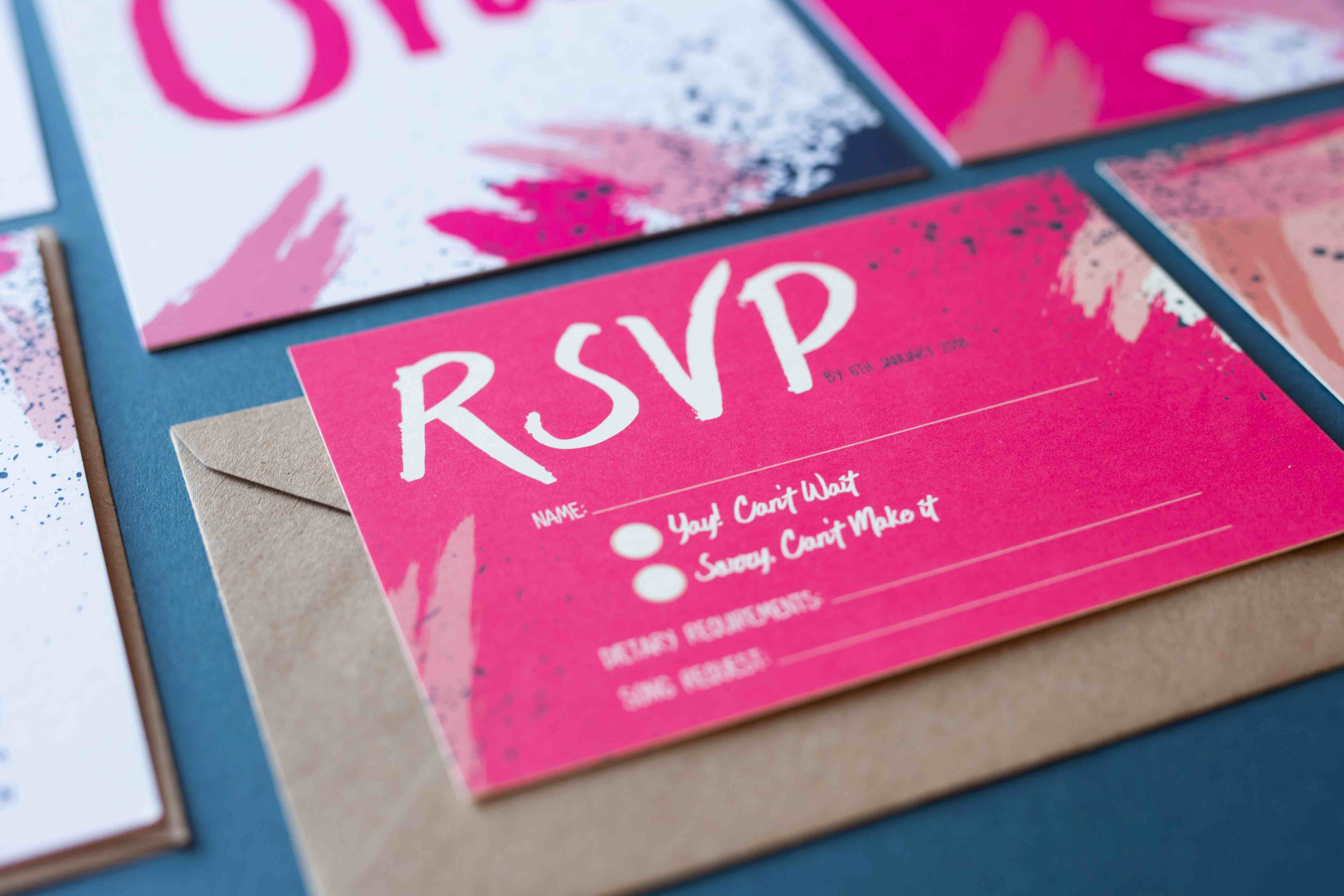 Bright colour pink RSVP A6 card with Kraft envelope.