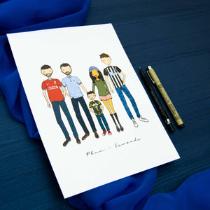 White paper with colourful cartoon drawing of a family with pens to the side laid on blue fabric background.