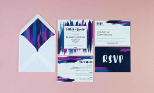 Colourful wedding invitation collection flatly.  Purple and blue paint splatter, wedding invite, RSVP, envelope liner and guest details card