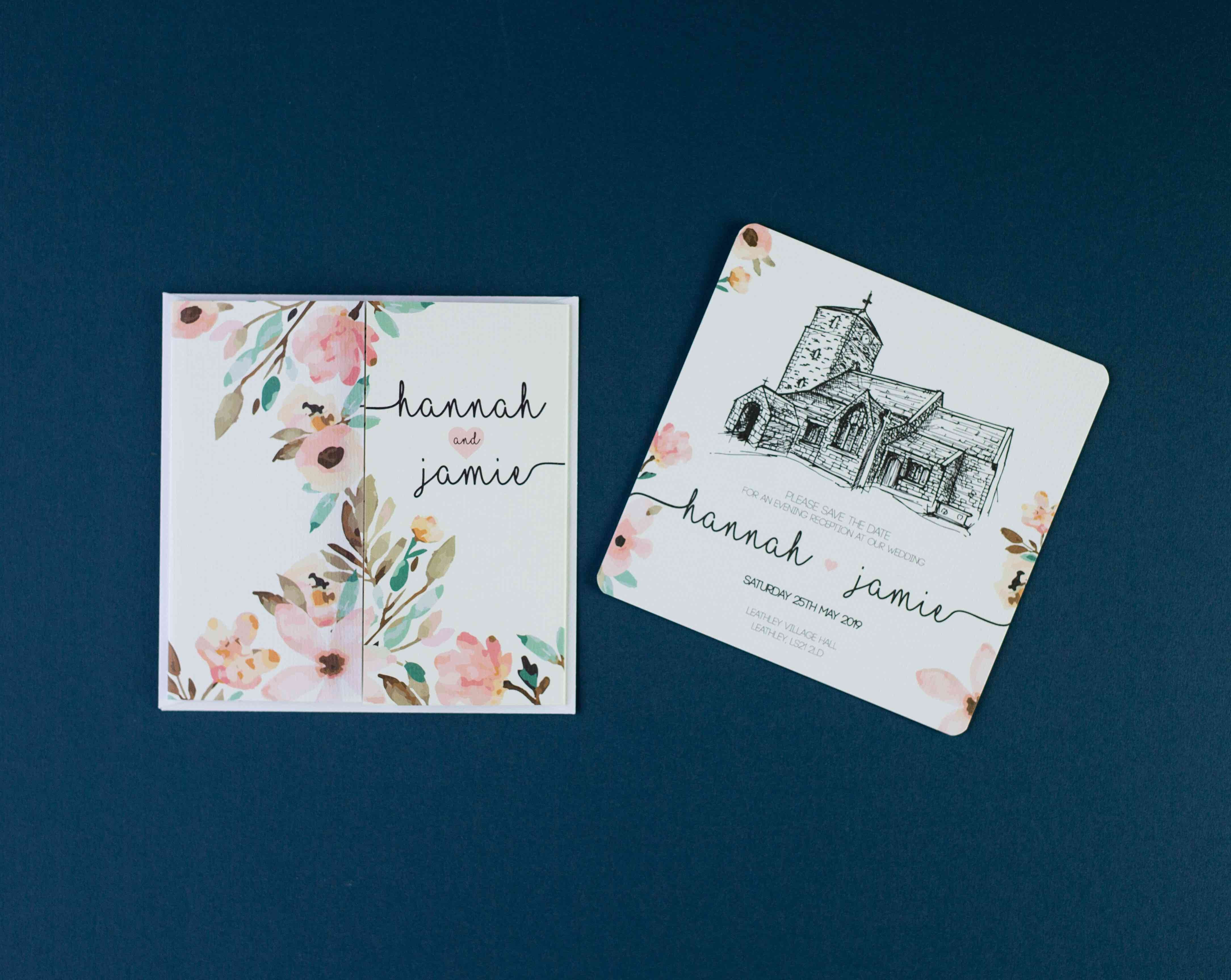 Square wedding invitation and matching save the date laid side by side flat on a dark background.