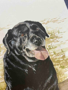 Close up shot of a detailed painting of an old black Labrador