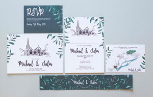 White and Green wedding stationery suite with foliage design laid on light grey background