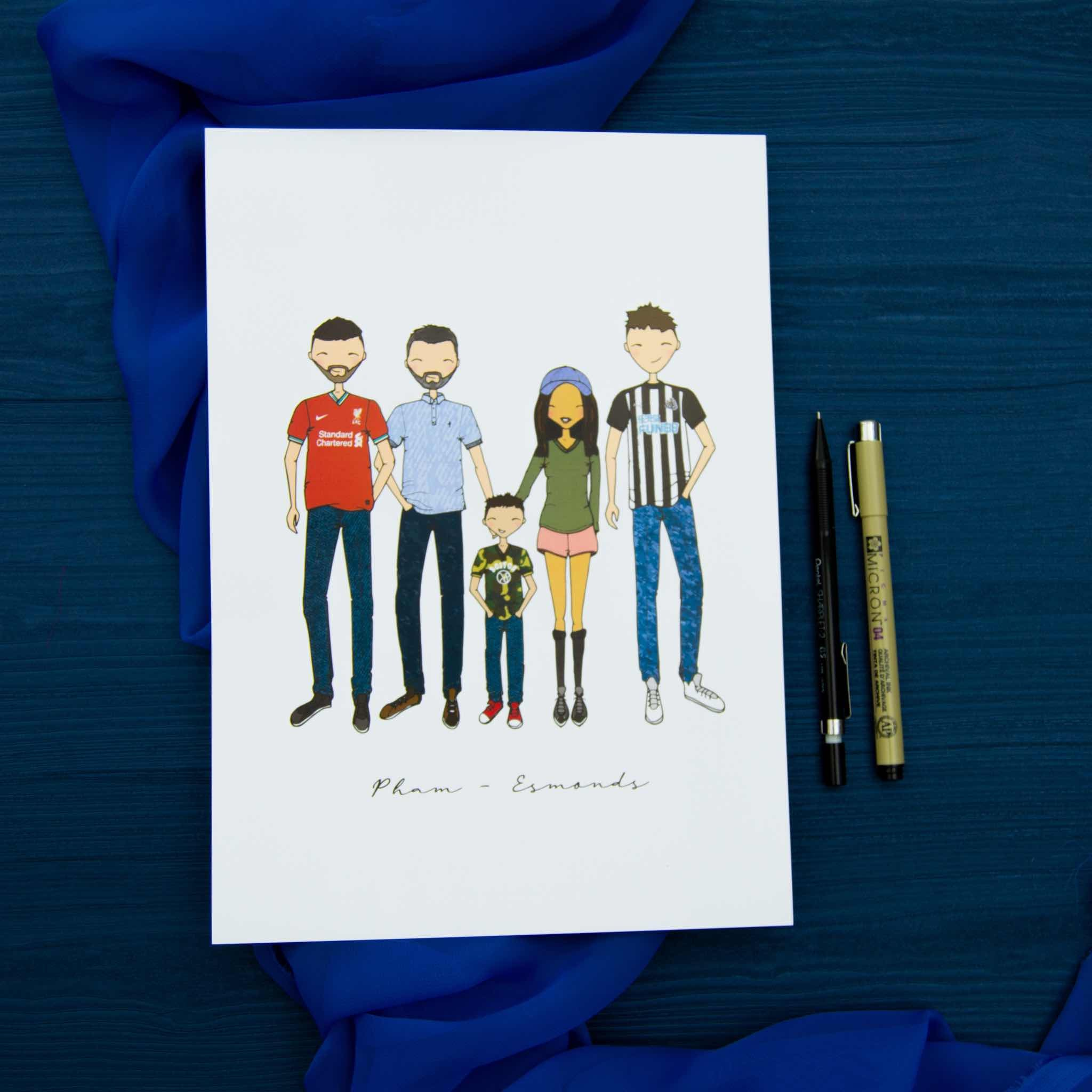 Cartoon drawing of family in colour on white paper, against blue background, with pens to the side.