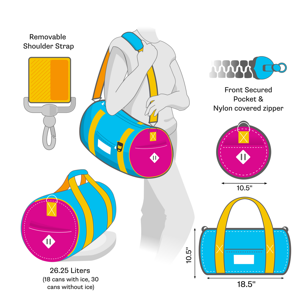 Duffle Bag Cooler hold 18 cans with ice or 30 cans without ice, 26L, removable strap.
