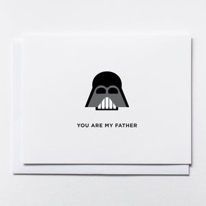 "Darth Vader-style mask illustration with text: ""You are my father""."