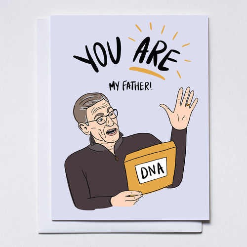 Illustration of Maury Povich holding DNA text results. Hand written text says
