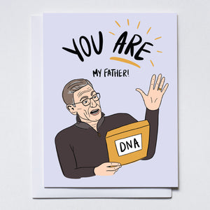 "Illustration of Maury Povich holding DNA text results. Hand written text says ""You are my father!"""