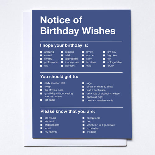 Notice of Birthday Wishes