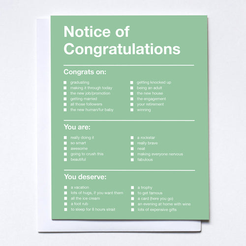 Notice of Congratulations