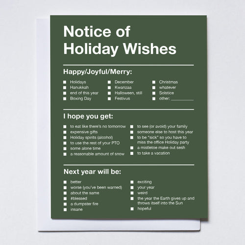 Notice of Holiday Wishes