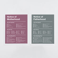 Load image into Gallery viewer, Notice of Parenthood (Set of 2)