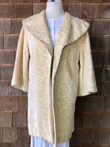 Ivory Chenille Tapestry Swing Coat