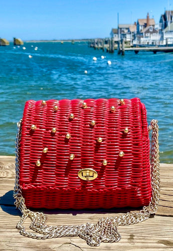 Red Woven with Gold Studs Bag