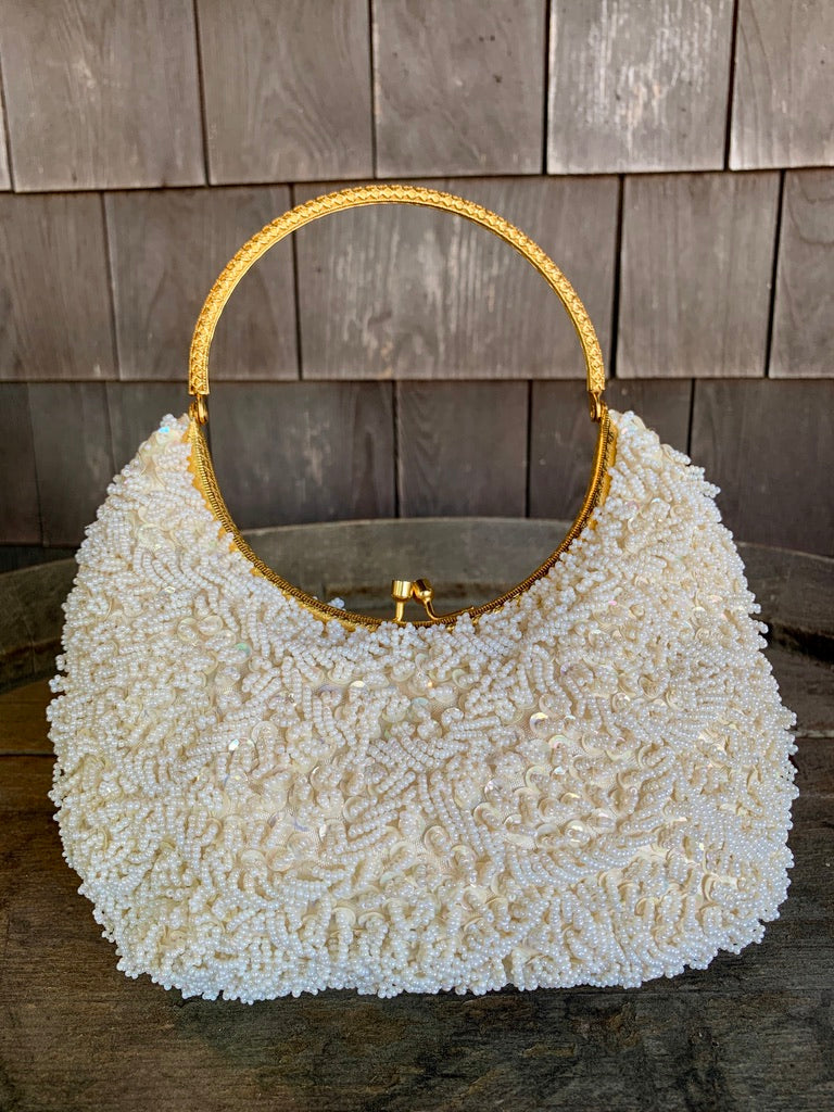 La Regale Ivory Beaded Bag