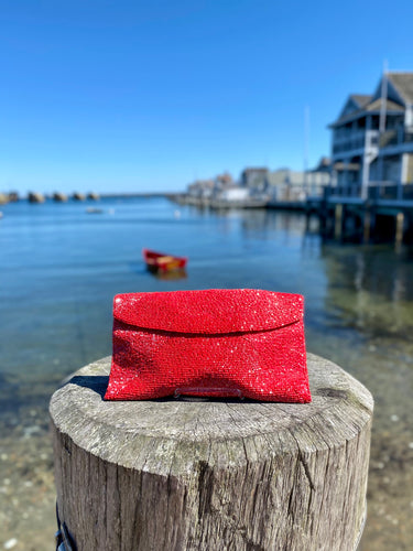 1960s Walborg Red-Beaded Evening Clutch