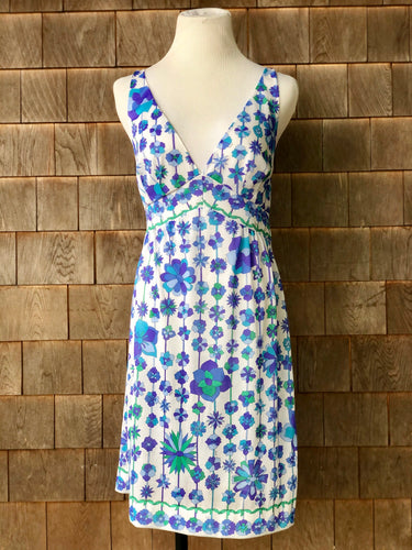 Emilio Pucci Blue floral V-Neck Slipdress