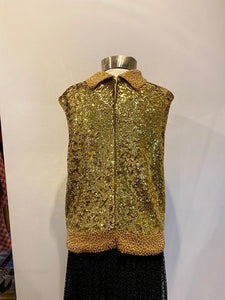 Gold Sequin Shell with Beaded Collar