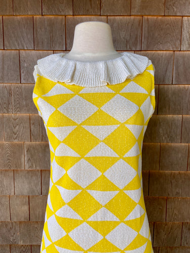 Marberni Yellow Knit Dress with Fab Collar