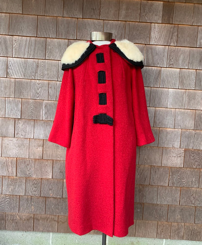1950s Red Wool Coat with White Mink Collar