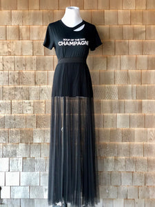 Sheer black pleated maxi skirt