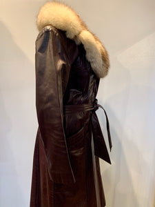 Burgundy Leather Coat with Fox Fur Collar