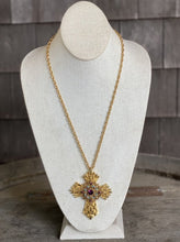 Load image into Gallery viewer, Elaborate Cross Necklace with Purple & Blue Stones