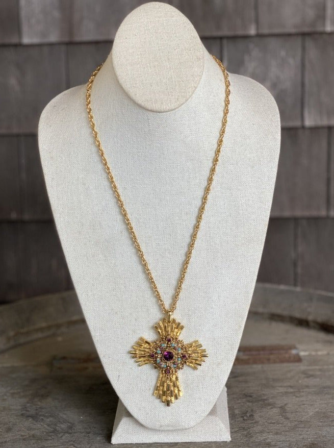 Elaborate Cross Necklace with Purple & Blue Stones