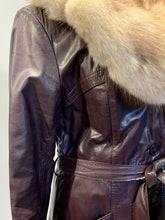 Load image into Gallery viewer, Burgundy Leather Coat with Fox Fur Collar